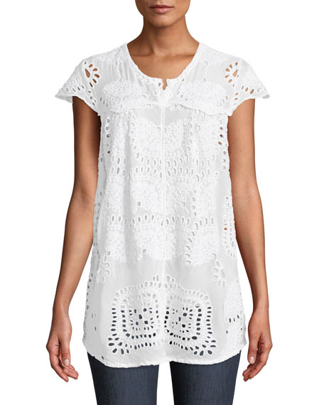Johnny Was Marietta Cap-Sleeve Eyelet Blouse and Matching
