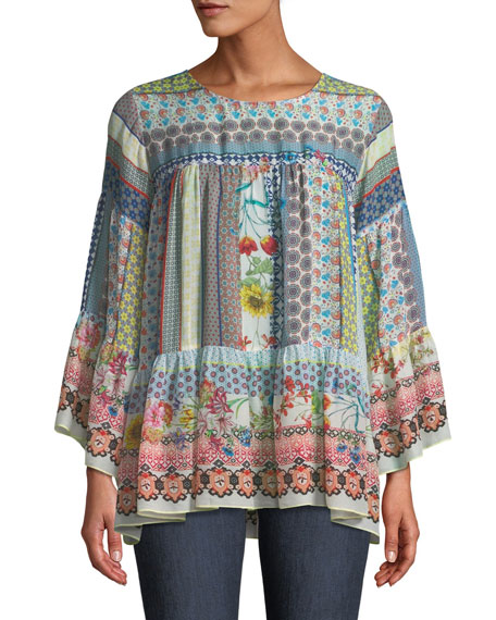 Johnny Was Peonies Georgette Flare-Sleeve Blouse