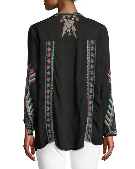 Alaura Embroidered Georgette Blouse, Plus Size