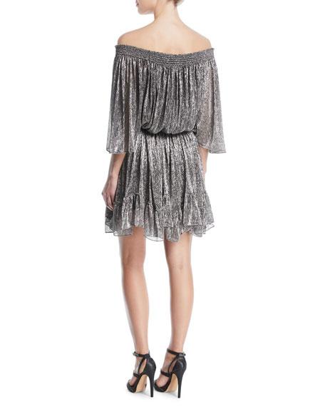 Metallic Off-the-Shoulder Mini Dress