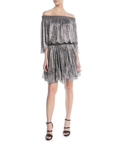 Halston Heritage Metallic Off-the-Shoulder Mini Dress