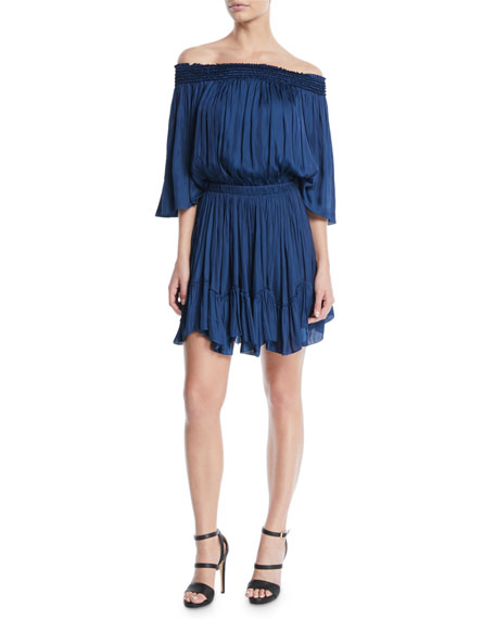 Halston Heritage Smocked Off-the-Shoulder Mini Dress