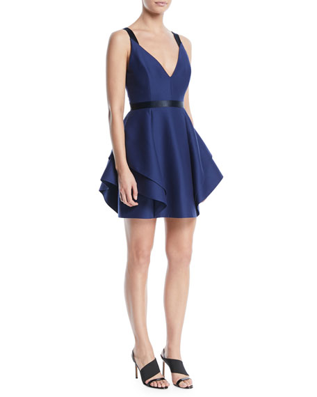 Halston Heritage V-Neck Mini Dress w/ Dramatic Flounce