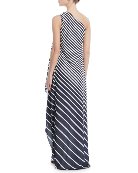 One-Shoulder Printed Stripe Wrap Gown