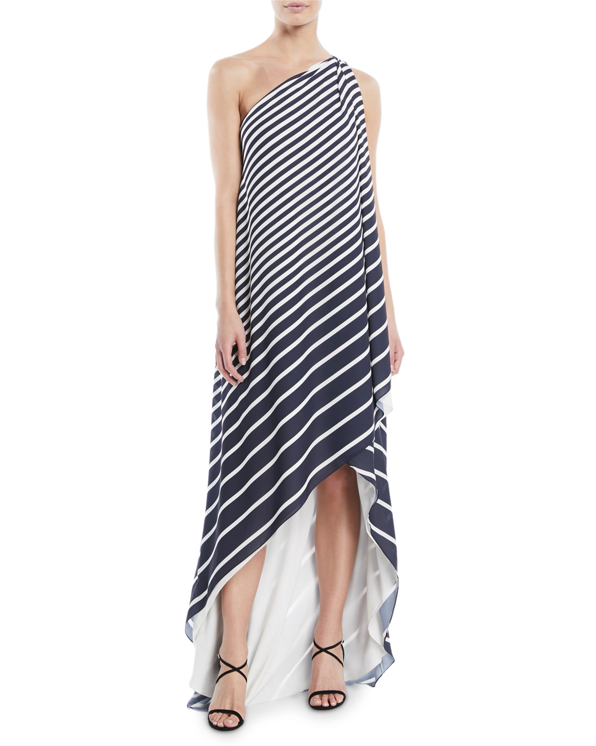 a0a36d84bbcfc Halston Heritage One-Shoulder Printed Stripe Wrap Gown