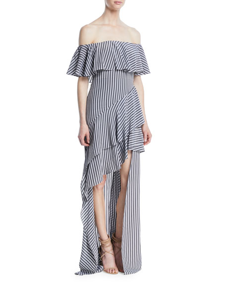 Off-the-Shoulder Striped Flounce Gown
