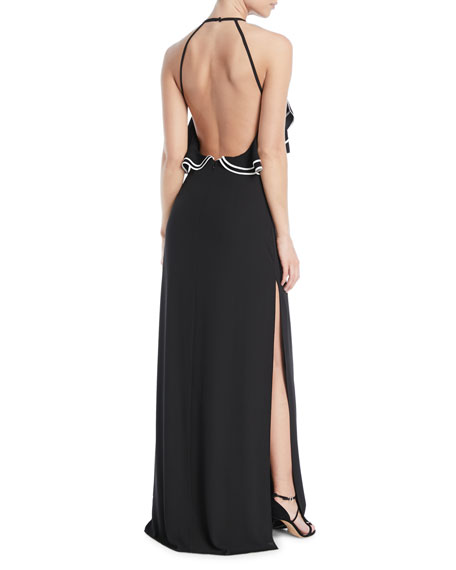 Open-Back Gown w/ Ruffle Detail