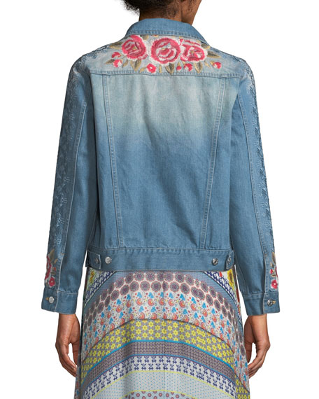 Shea Washed Embroidered Denim Jacket