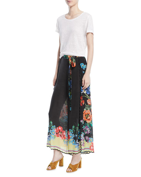 Peonies Wrapped Printed Pants, Plus Size