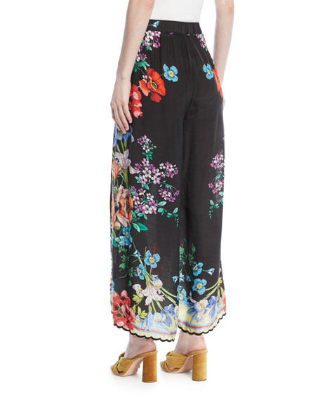 Peonies Wrapped Printed Pants