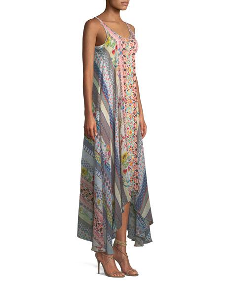 Garden Arch Sleeveless Mix-Print Long Dress