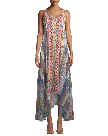 Johnny Was Garden Arch Sleeveless Mix-Print Long Dress