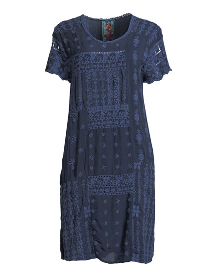 Mixed Berry Georgette Short-Sleeve Shift Dress