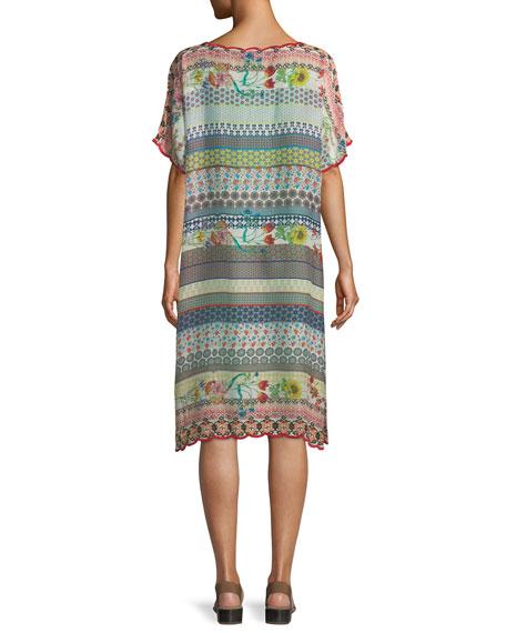 Flower Garden Georgette Stripe Tunic Dress