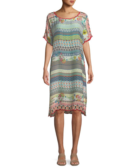 Flower Garden Georgette Stripe Tunic Dress, Plus Size