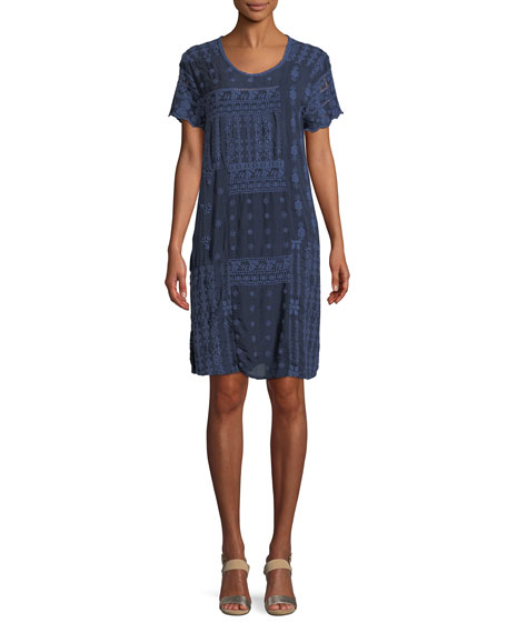 Johnny Was Mixed Berry Georgette Short-Sleeve Shift Dress,