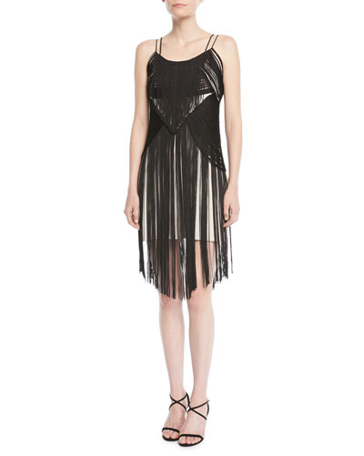 Lawless Spaghetti-Strap Fringe Dress