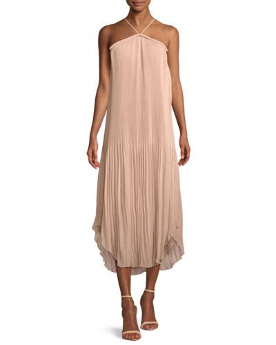 Catalina Pleated Georgette  Halter Midi Dress