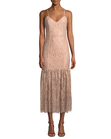 NBD Brielle Lace Slip Midi Dress