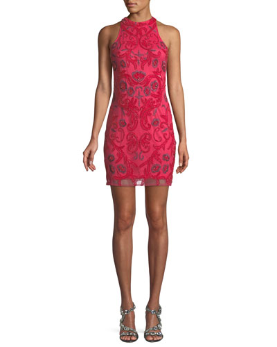 Carmen Sleeveless Embroidered Cocktail Dress