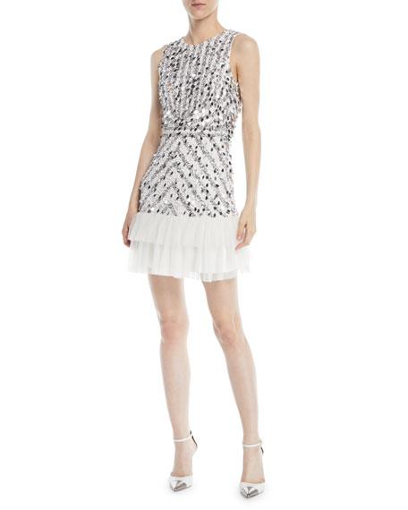 Parker Black Madison Sequin Mini Dress w/ Ruffle