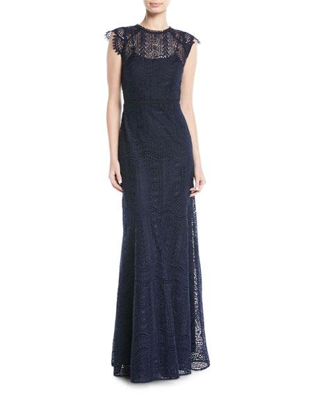 Raven Cap-Sleeve Lace Gown