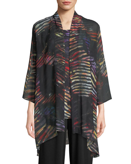 Caroline Rose Harvest Printed Georgette Cardigan, Plus Size