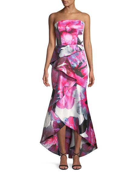 Brenda Strapless Bustier Gown w/ Asymmetric Ruffle