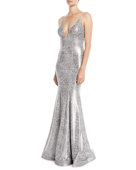 Animal Foiled Sleeveless Trumpet Gown