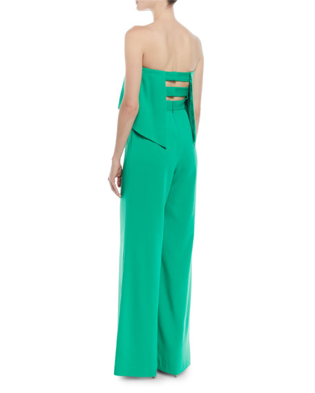 Popover Bustier Jumpsuit w/ Strappy Back