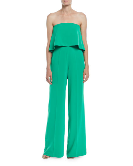 Popover Bustier Jumpsuit W/ Strappy Back in Bright Green