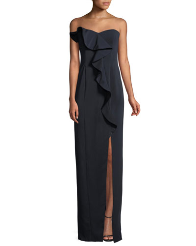 Strapless Ruffle Gown w/ Front Slit