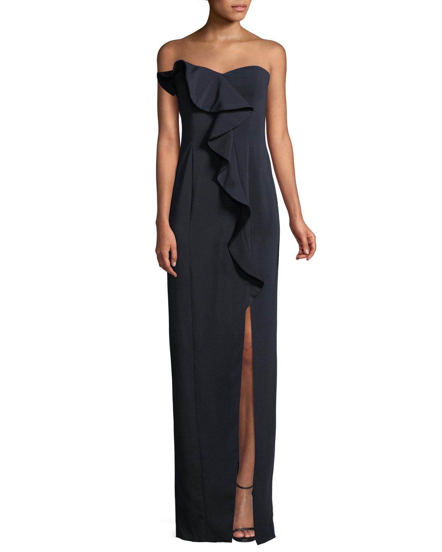 Jay Godfrey Strapless Ruffle Gown w/ Front Slit | Neiman ...