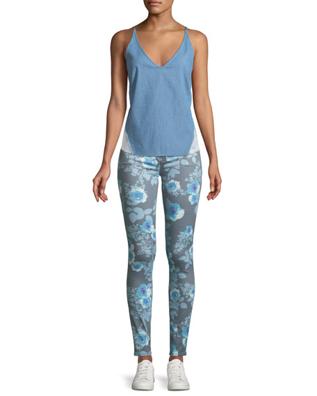 620 Floral-Print Mid-Rise Super Skinny Jeans