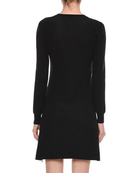 """Little Black Dress"" Crewneck Long-Sleeve A-Line Dress"