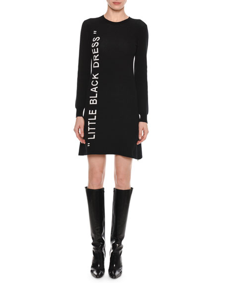 "Little Black Dress"" Crewneck Long-Sleeve A-Line Dress"""