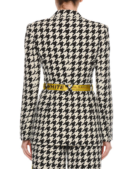 Single-Breasted Houndstooth Wool Jacket with Embossed Belt