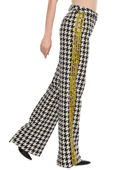 Wide-Leg Houndstooth Wool-Blend Pants