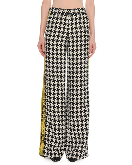 Appliquéd Houndstooth Wool-Blend Wide-Leg Pants, Black/White