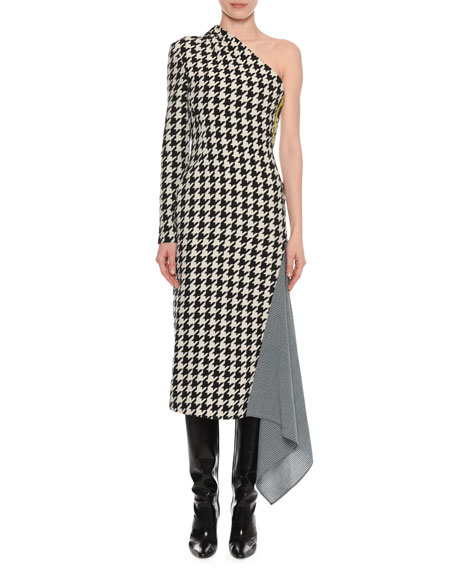 One-Shoulder Long-Sleeve Houndstooth Fitted Dress w/ Drape Detail