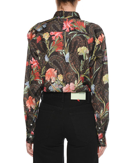 Long-Sleeve Button-Down Floral-Print Blouse