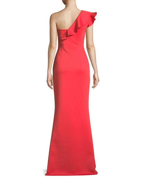 Carmel One-Shoulder Ruffle Gown