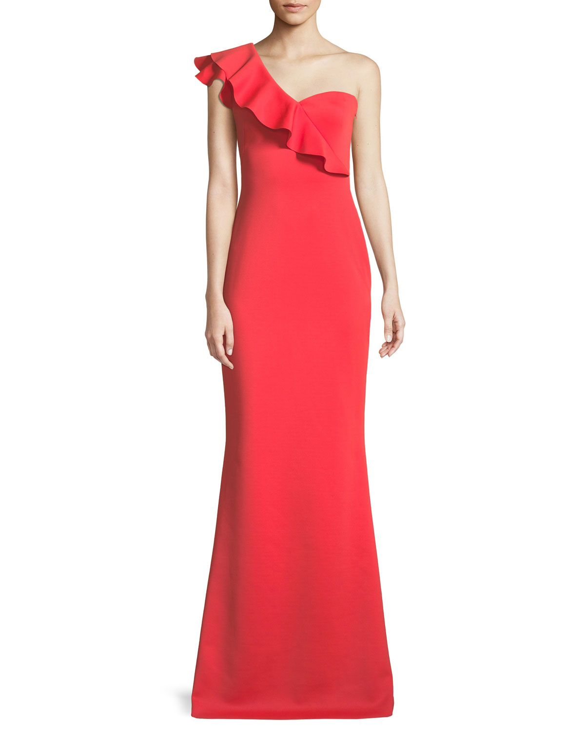 Black Halo Carmel One-Shoulder Ruffle Gown | Neiman Marcus