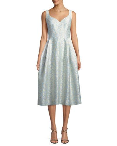 Virginia Sweetheart Jacquard Midi Dress