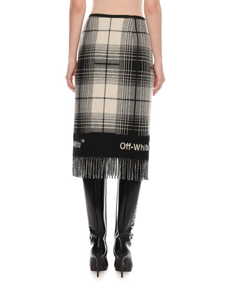 Check Wool-Blend Blanket Skirt