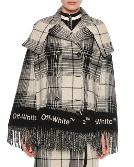 Double-Breasted Check Blanket Cape, Gray