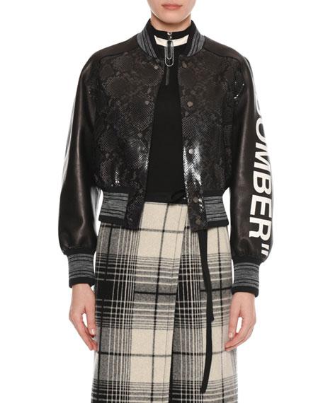 "Bomber"" Python-Embossed Crop Varsity Leather Jacket"", Black"