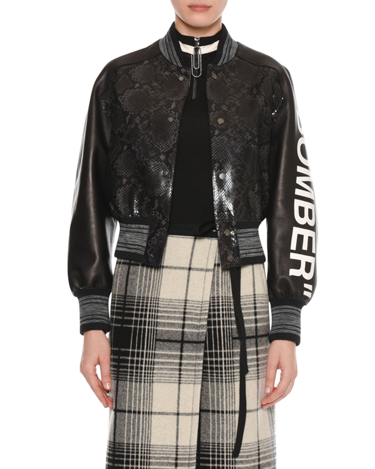 "Off-White ""Bomber"" Python-Embossed Crop Varsity Leather ..."