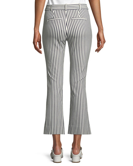 Striped Cropped Flare-Leg Trousers