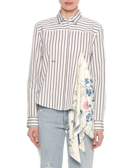 Long-Sleeve Button-Down Striped Shirt with Foulard Scarf Inset